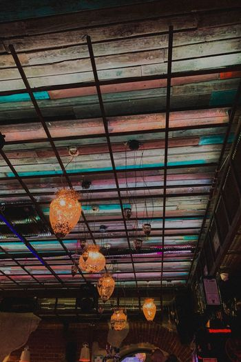 Up Ceiling Indoors  Lighting Equipment Illuminated No People Hanging Low Angle View Decoration Built Structure Architecture Light Pattern Night Large Group Of Objects Electric Light Multi Colored Glowing In A Row Glass - Material