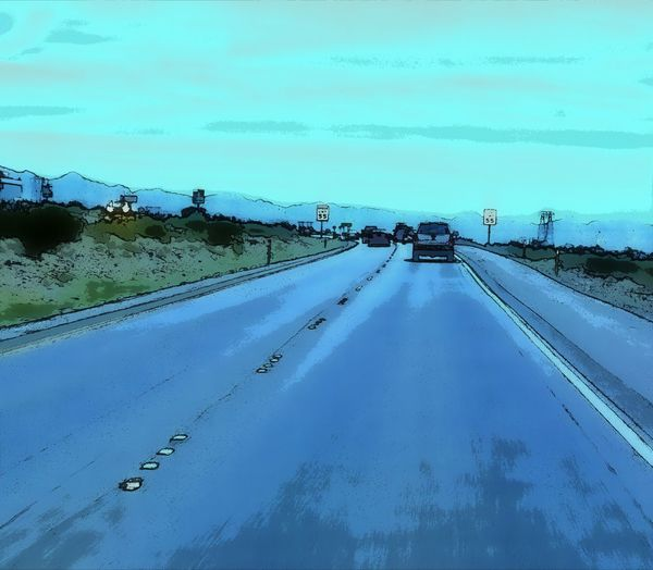 Beauty In Nature Blue Cloud Cloud - Sky Country Road Day Diminishing Perspective Driving Around Empty Empty Road Comic Art Non-urban Scene Outdoors Road Road Marking Scenics Sky The Way Forward Tranquil Scene Tranquility Vanishing Point Weather Comic Style