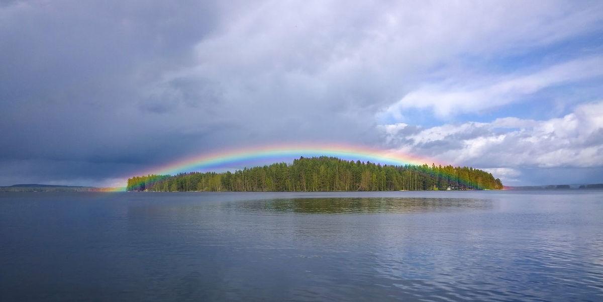 Rainbow🌈 Rainbow Treasure Island Kallavesi Kuopio Suomi Finland Lakeside Rainbowporn Visitfinland