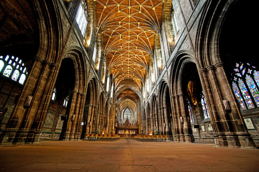 Inside Chester Cathedral with no people around. The place locate in Chester city in England, July 2018 Christian The Traveler - 2018 EyeEm Awards Aisle Altar Arch Arched Architectural Column Architecture Belief Building Built Structure Ceiling Chester Cathedral Glass Gothic Style History Indoors  No People Pew Place Of Worship Religion Spirituality The Past Travel Travel Destinations