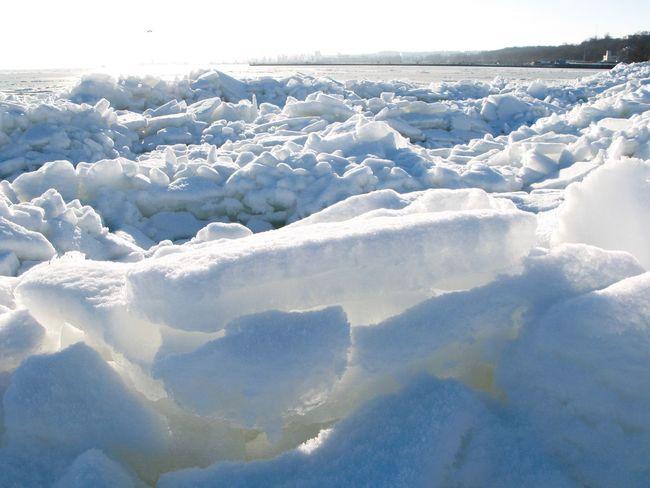 Ice Seashore Sea Pressure Ridge Mariupol Azov Sea Winter City Beach Close-up