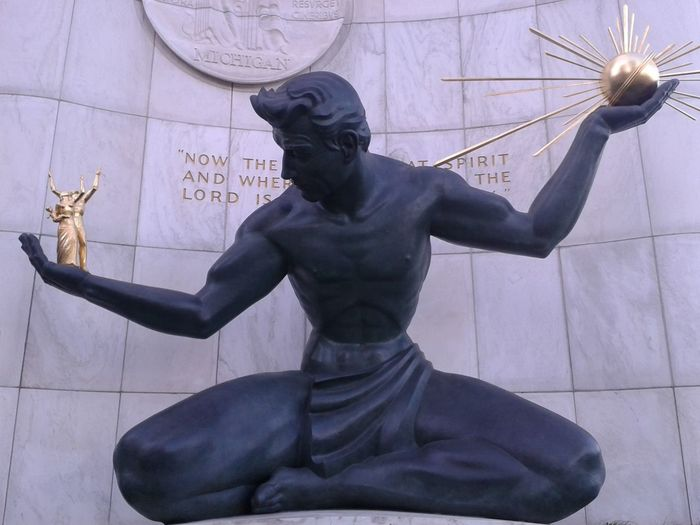 Detroit Justice Modern Giant Art Lybra Equity Trust Good Times Trip America Detroit Thing Magnanimity Equal Equal Rights  Society Modern Architecture High Day Art And Craft Arts Culture And Entertainment Statue Sculpture One Person Adult People