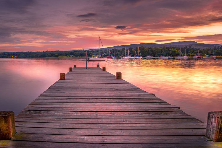 Wooden jetty at sunset