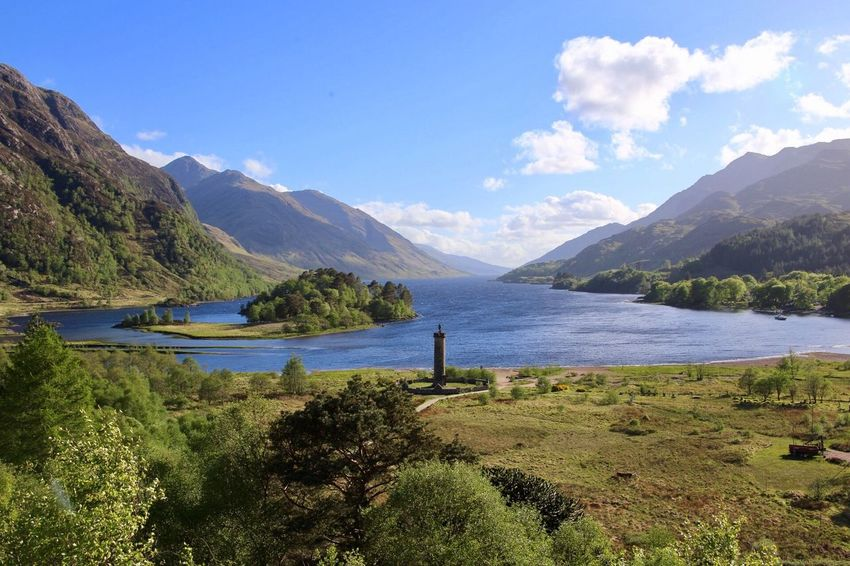 Glenfinnan Monument Monument Loch  Highlands Scotland Mountain Water Nature Tranquility Beauty In Nature Lake Scenics Tranquil Scene Landscape Day No People Outdoors Sky Grass