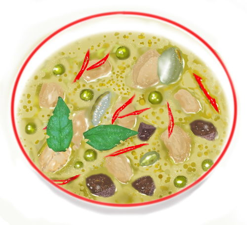 Digital Drawing Drawing Food Food And Drink Green Curry Green Curry Chicken Healthy Lifestyle Idea Ready-to-eat Soup Spoon Thai Thai Food