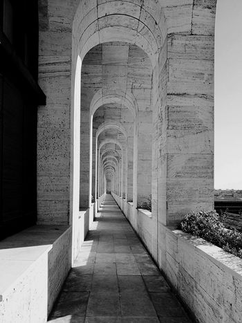 Architecture The Way Forward Built Structure Rome Urban Architectural Column Lines Arches Prospective Black & White