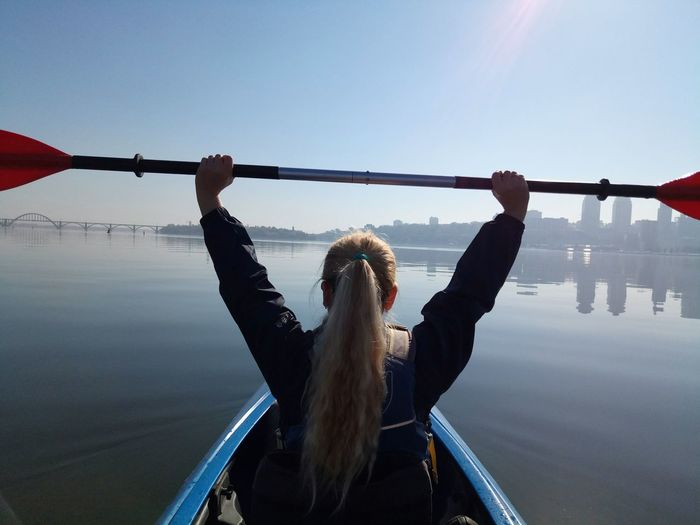 Kayaking Travel Outdoor Adventure River Dnipro Autumn Sport Sun Water Young Women Sitting Hanging Sky Lakeside Calm Water Vehicle Lake Waterfront Lakeshore Swan Standing Water Moored Boat Nautical Vessel Hiker A New Perspective On Life Holiday Moments