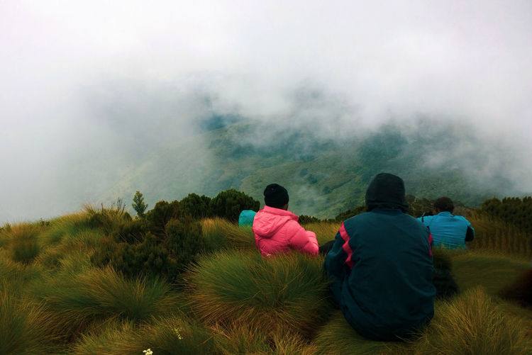 Rear view of people sitting on mount top  against foggy mountain
