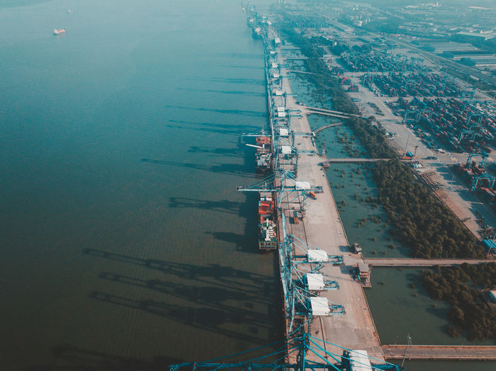 Water High Angle View Transportation Aerial View Nature Architecture Day Mode Of Transportation Nautical Vessel Freight Transportation Industry Outdoors Built Structure No People River Pier Harbor Business