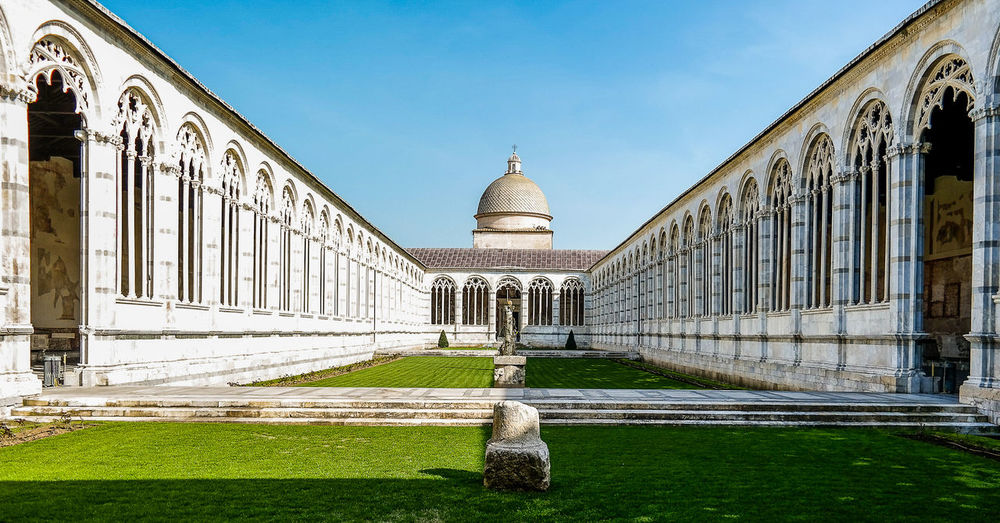 Courtyard of composanto monumentale against sky