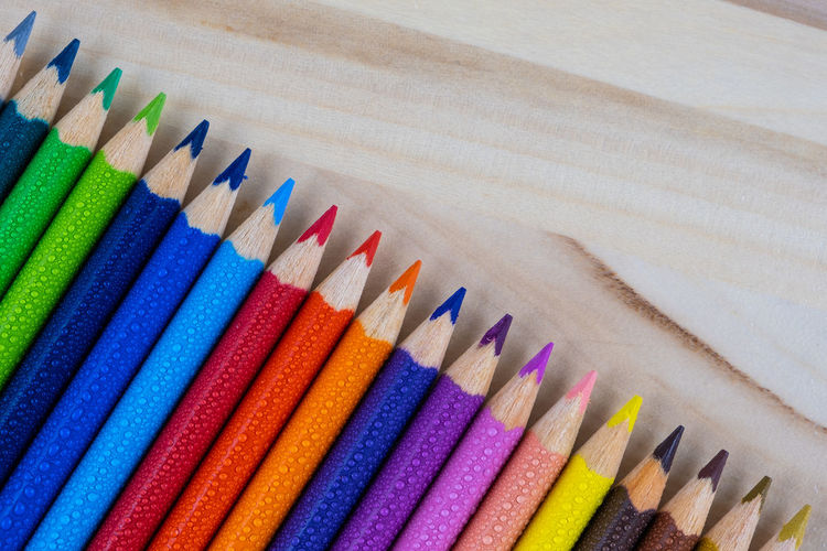 High angle view of colored pencils