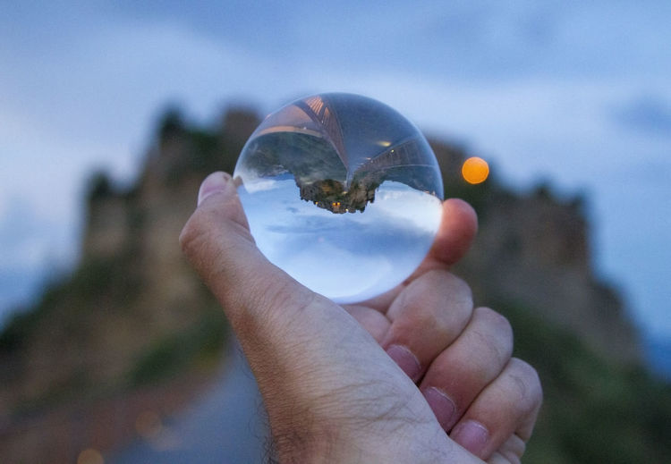 Bagnoregio Crystal Ball Eye4photography  EyeEm EyeEm Best Shots EyeEm Gallery EyeEm Nature Lover Focus On Foreground Holding Human Finger Leisure Activity Personal Perspective Point Of View Tourism Travel Travel Destinations Travel Photography Traveling Upside Down View Worldcaptures