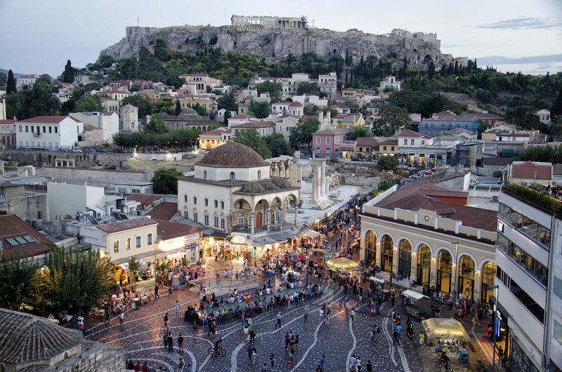 Lights Monastiraki Square, Athens Panorama Acropolis Afternoon Tea Color Crowded Landscape Lifestyles View From Above