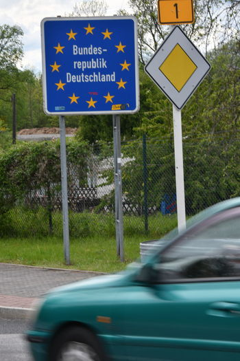Information sign by road