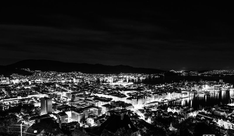 Night Sky Building Exterior Mountain High Angle View Outdoors Crowded Built Structure Architecture Cityscape City Illuminated Sea Nature People