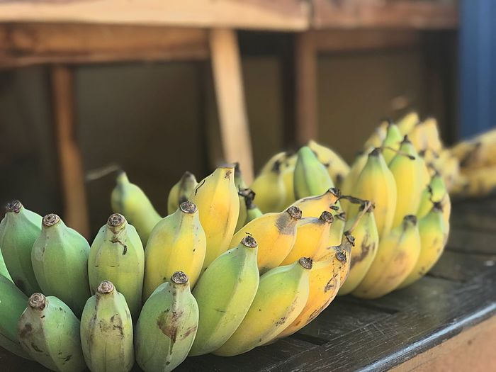 Banana in Thailand Thai Fruits Healthy Eating Banana Fruit Sweet Nature Food And Drink Food Fruit Healthy Eating Banana No People Green Color Leaf Close-up Focus On Foreground Freshness Day Indoors  Yellow