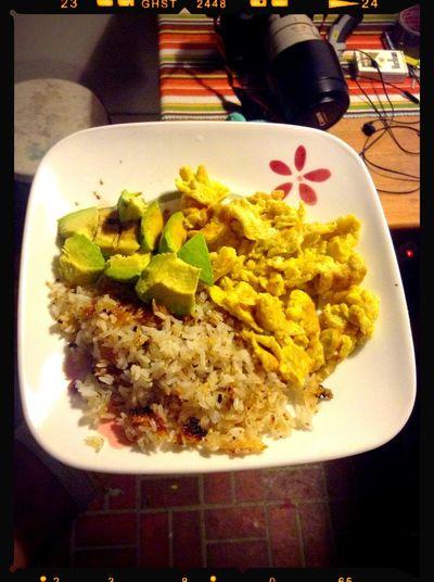 Dinner Avocado Eggs Rice