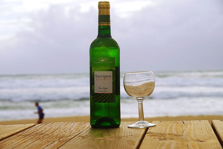 Wine Not Table Drink Wine Alcohol Bottle Ocean Beach Horizon Over Water Food And Drink Refreshment Close-up Outdoors Man Water