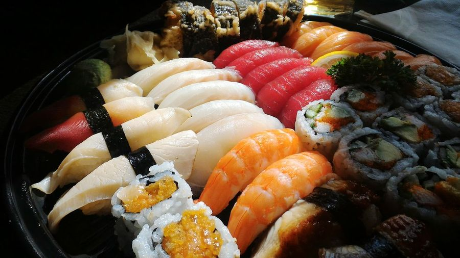 Sushi Japanese Food Seafood Food Healthy Eating Sashimi  Sushi Plate Jtown Maki Ktown Delicious Lunch Dinner Dish Of The Day Close-up Ready-to-eat Freshness Takeout Foods Salmon Tuna Shrimps EBI Cooking EyeEm Selects