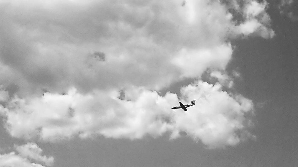 See the world... Make A Wish! For Bnw_friday_eyeemchallenge Airplane In The Sky Clouds Flying On The Run Jetsetting Trip My Cloud Obsession☁️ From Where I Stand Look Up At The Sky Need For Speed Fine Art Photography Let's Go. Together. An Eye For Travel