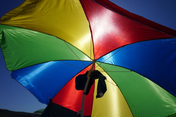 Sun Shelter Multi Colored Protection Umbrella Security Day Nature Low Angle View No People Vibrant Color Pattern Close-up Sunlight Parasol Safety Outdoors Blue Shade Beach Umbrella Sky Flag Sheltering Purple