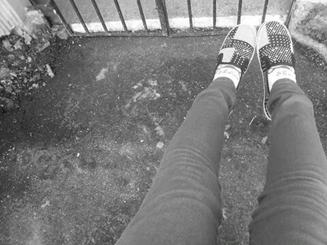 Wishing that someday I have someone with me .. Outdoors Black And White Shoes Cutesocks Rough Draven