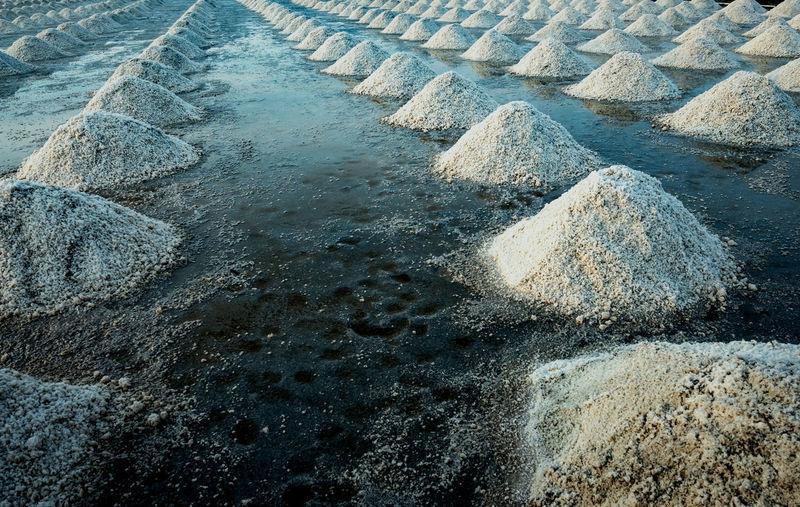 Sea salt farm at samut sakhon, thailand. organic sea salt. evaporation and crystallization.