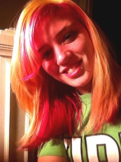 My hair blonde and hot pink !! Love it ;)