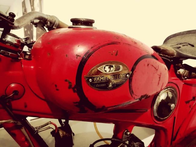 Portuguesemotocycles Red Mode Of Transport Transportation Retro Styled Motorcycle Vintage Style Old-fashioned History Motorbike Motobikes Famel Satelite