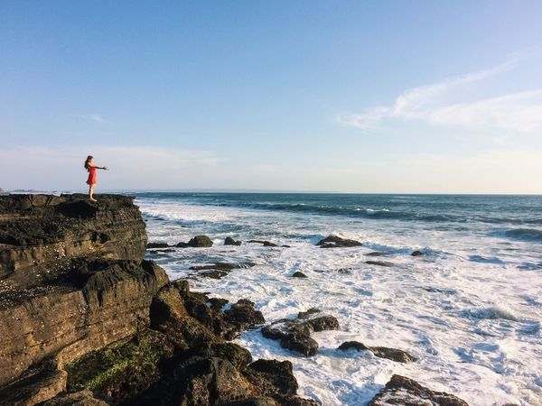 Ocean Rocks Cliff Waves Seascape Bali Tanah Lot Red Dress Good Vibes Energy Mood Ourdoors Wanderlust Lost In The Landscape Idyllic Scenery One Woman Only