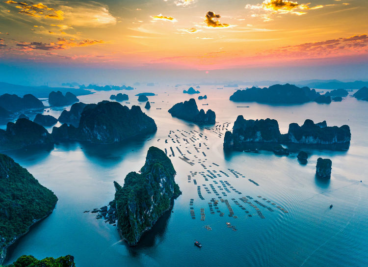 Bai Tu Long Bay Vietnam Bay Beauty In Nature Boat Boats Day Nature No People Outdoors Rock - Object Scenics Sea Sea And Sky Seascape Sky Sunset Tranquil Scene Tranquility Water