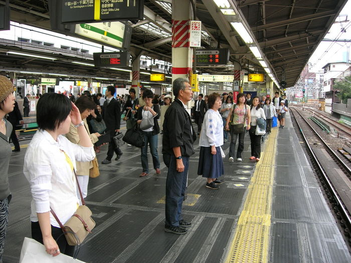 People waiting at railroad station platform