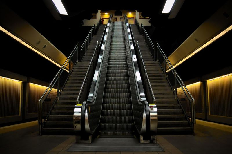 Architecture Built Structure Day Escalator Futuristic Hand Rail Illuminated Indoors  Low Angle View Modern No People Perspective Railing Staircase Steps Steps And Staircases Subway Station Technology The Way Forward Transportation Underground