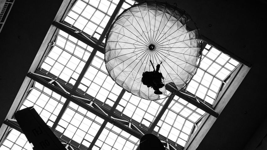 Old Parachute Bnw Architecture Indoor Black And White Museum Parachute