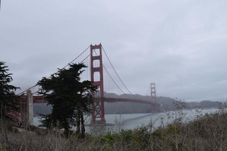 Suspension bridge over river