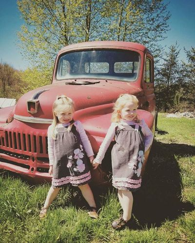 Girls Full Length Togetherness Vintage Pick Up Childhood Poodle Skirts Spring Time Blooming Trees Country Living At Its Best ! Blue Skies Twinsisters
