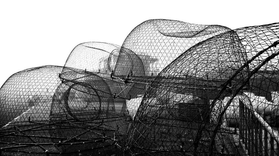 Crab Cages Cages Blackandwhite Black And White Fish Port Catching Crabs