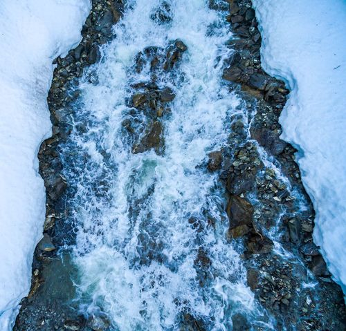 Mountain Stream Snow Mountainstream River Fluss Aerial View Dji Drone  Snow Ice Nature No People High Angle View Tranquility Blue Outdoors Full Frame Beauty In Nature Backgrounds Water Close-up Scenics