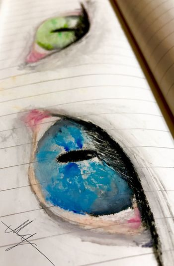 Blue&green eyes 💙👀💚.. Hello EyeEm Close-up Art Is Everywhere Blue Art Quick Sketch Green Color Blue Color Eyelash Artwork By Me Picture Cateyes The Week On EyeEm Mypic Eyes