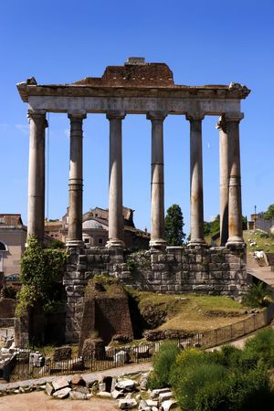 The ancient remains of the Temple of Saturn (Tempio di Saturno) in the ruins of the roman forum (foro romano) in Rome, Italy Travel Photography Ancient Ancient Civilization Ancient Rome Arch Archaeology Architectural Column Architecture Bad Condition Built Structure Damaged Day Deterioration Foro Romano History Nature No People Old Ruin Outdoors Ruined Temple Ruins The Past Tourism Travel Travel Destinations