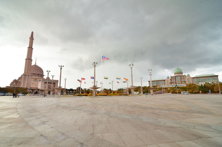 Wide Angle Panoramic view of Dataran Putra Architecture Cloudy Day Cloudy Sky Dome Flag Pole Flags Government Building Malaysia Minaret Mosque Panorama Plain Putrajaya Ultra Wide Angle Wide Angle Wide Lens Wideangle