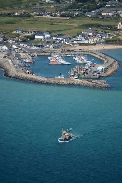 Aerial View Fishing Boat Ireland Kilmore Quay Nautical Vessel Sea Transportation Trawler Water