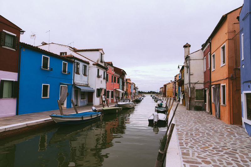 Burano, Italy Architecture Building Building Exterior Built Structure Canal City Day House Mode Of Transportation Moored Nature Nautical Vessel No People Outdoors Residential District Row House Sky Transportation Water Waterfront Wooden Post