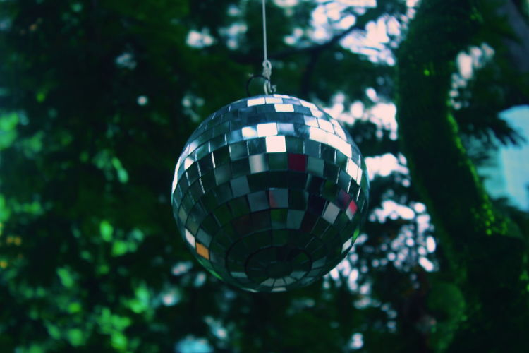 Crystal Ball Tree Christmas Decoration Hanging Christmas Holiday - Event Christmas Ornament Illuminated Celebration Arts Culture And Entertainment Shiny Disco Ball Mirror Analogue Sound