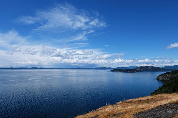 Pacific Pacific Northwest  Strait Of Juan De Fuca Bay Beauty In Nature Blue Cloud - Sky Day Fidalgoisland Horizon Horizon Over Water Idyllic Land Nature No People Outdoors San Juan Islands Scenics - Nature Sea Seascape Sky Tranquil Scene Tranquility Water