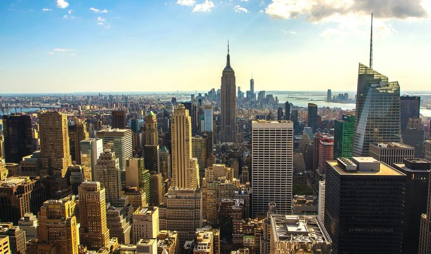 High Angle View Of Cityscape With Empire State Building