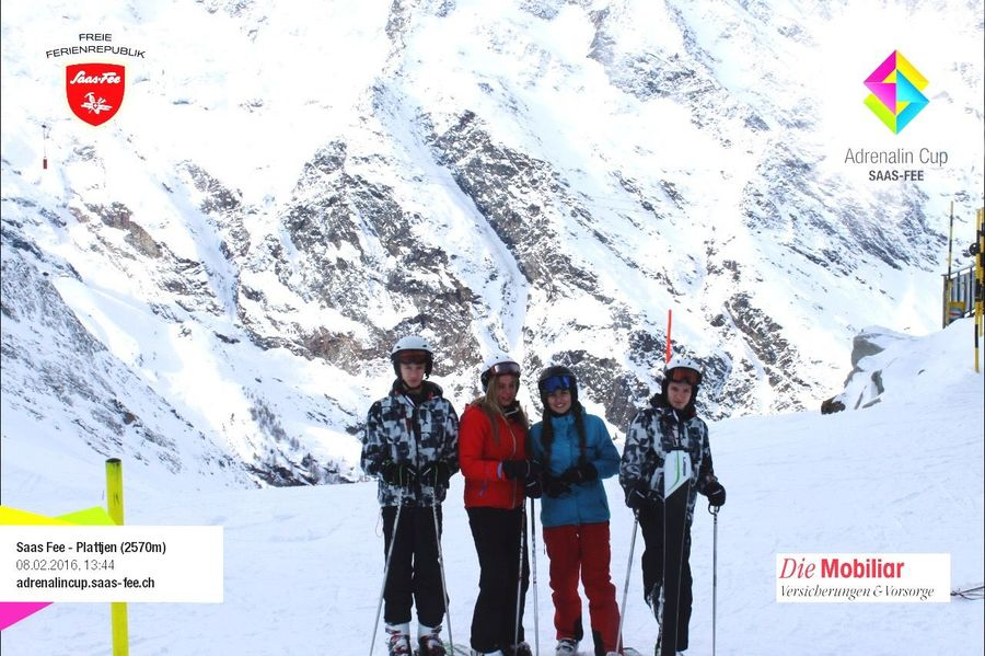 Skiing First Day Love Snow Mountains Saas Fee Plattjen With Family Showcase: February
