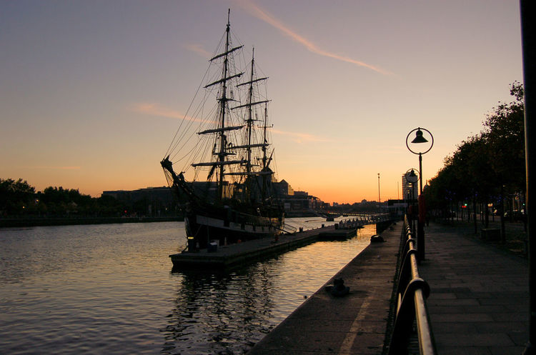 Jeanie Johnston Tall Ship Cloud Footpath Jeaniejohnston Liffe River Liffeyriver Mast Nautical Vessel No People Sky Sunset Town Water