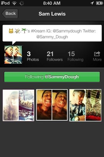 Shout Out to SammyDough aye y'all follow my cousin...