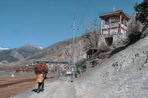 Nepal Travel Destinations Annapurna Conservation Area Trekking Trek Tibet Village Farm Life Buddhism Mountain Ancient Civilization Full Length Sky Ancient Ancient History Civilization Farmland Stupa A New Beginning